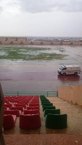 عاجل..مياه الامطار تغمر ملعب كريمة  وتلغي مباراة المريخ والاهلي