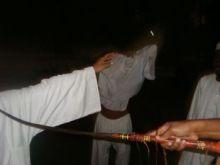 طالبة جامعية تشارك زملاءها ( البطان ) في احدى حفلات محجوب كبوشية