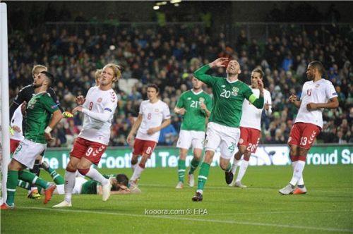 مباراة الدنمارك وأيرلندا تنتهي بالتعادل