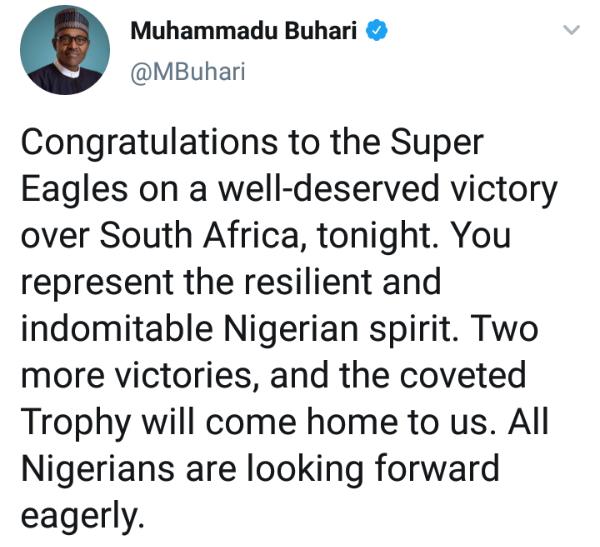 تهنئةرئاسية لنيجيريا والسنغال بالتأهل لنصف نهائي الكان